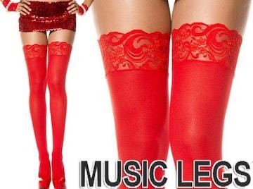 A285)MUSICLEGSレーストップサイハイストッキングタイツ赤レッドパーティー発表会ニーハイ
