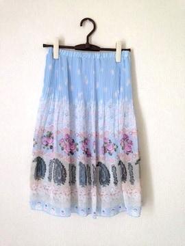 ドレスフォーム◆ブルー ペイズリー 花柄 プリーツ スカート