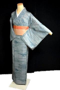 【夏用】【最高級】新品同様 絽 流水飛鶴風景 小紋 T2152