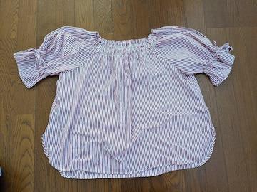 Tシャツ 半袖 七分丈 赤系ストライプ Lサイズ しまむら
