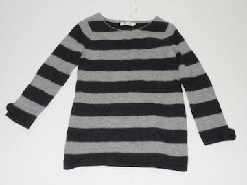 衣類 レディース サイズ38 約L 長袖セーター ボーダー