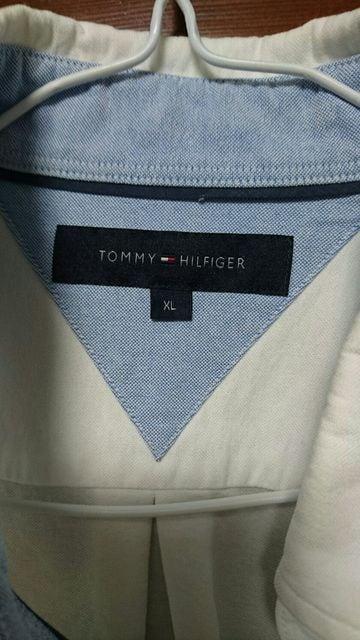 トミー ヒルフィガー XL 七分丈シャツ 白 TOMMY HILFIGER < ブランドの