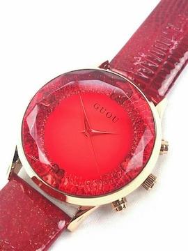 レッド ガラス カット 腕時計 ファッション