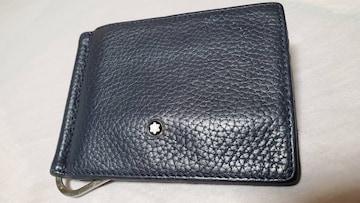正規 モンブラン レザーマネークリップ紺 財布 ペーパーウォレット カードケース有 スターロゴ