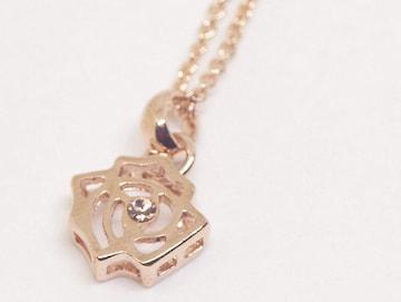 18K RGP ゴールド ダイヤ CZ バラ ネックレス pn3872