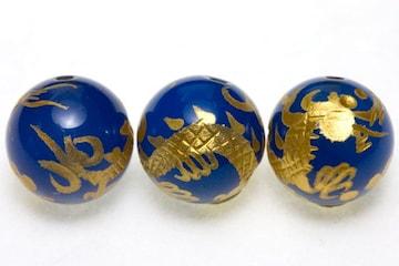 金彫り五爪龍☆ブルーメノウ12mmビーズ1粒