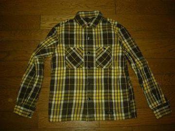 NEIGHBORHOODネイバーフッドBEERチェックシャツS黄×茶系ネル