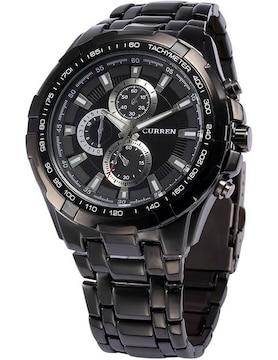 ステンレススチール バンド クォーツ 腕時計 黒