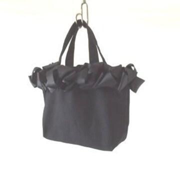 新品 リボンバッグ 黒 ブラック ミニトート キャンバス