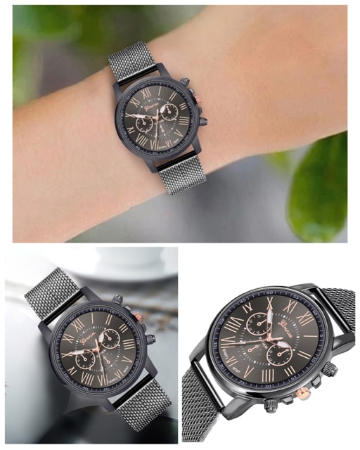 腕時計 時計 ギリシャ文字 ステンレス メッシュ  ブラック < 男性アクセサリー/時計の