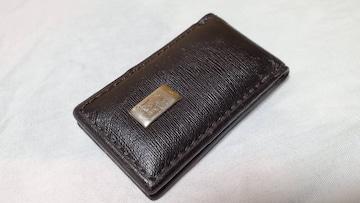 正規 ダンヒル ロゴレザーマネークリップ 黒 マグネット 財布 札入れ ペーパーウォレット