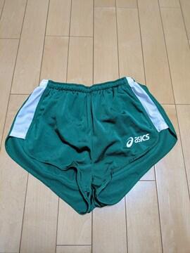 【美品】ASICSアシックス レディースランニングパンツ 緑×白 M