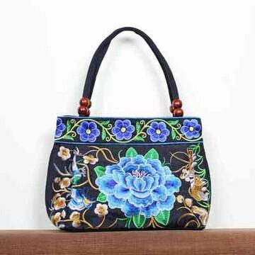 新品☆フラワー花柄刺繍仕上げトートバッグ黒ブラックレディース