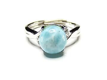 ラリマー指輪リングAAA天然石一点物16号石街U0338愛と平和