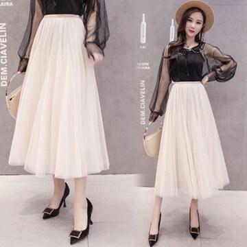 新品 チュール ミモレ丈 スカート フリーサイズ ベージュ