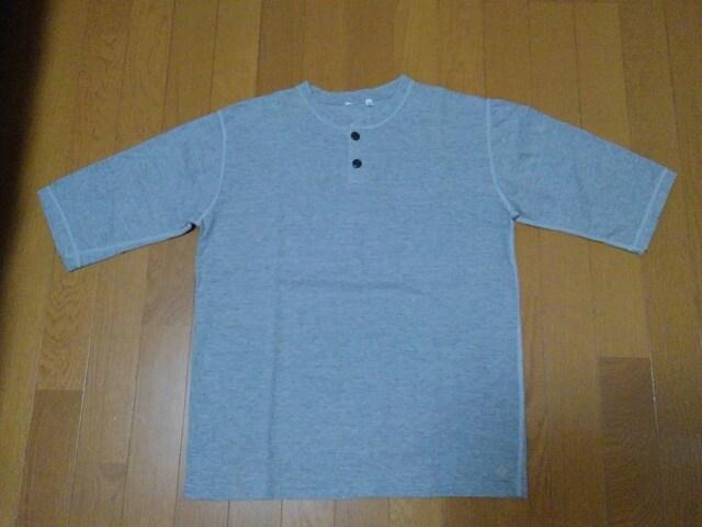 TwoMoon/トゥームーン★六分ヘンリーネックTシャツ★杢グレイ★M  < 男性ファッションの