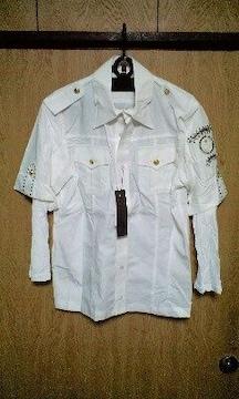 新品ロエン エンブレムスカルワッペンレイヤードシャツ46