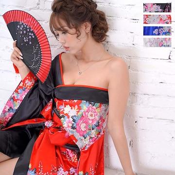 ツートンカラー孔雀柄着物ドレス 和柄 衣装 ダンス チャムドレス