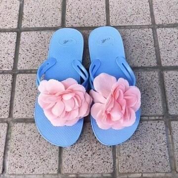 ◆新品!!フワラービーチサンダル◆ブルーM★ビキニ水着浴衣相性◎