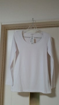 新品タグ付き マニックス ストール付き クルーネックTシャツ 長袖 フリー 白