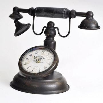 【アンティーク調】 置時計 レトロ クロック 電話型 置物【インテリア小物】雑貨