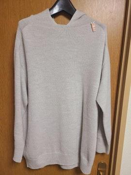 INDIVI昨季美品グレーウール100%パーカーニットセーター大きいサイズ4213号LL