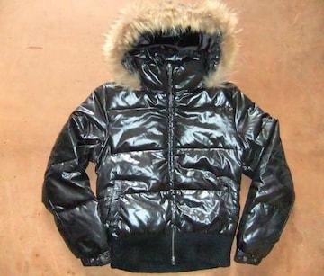 シルエット抜群 フード ダウンジャケット 黒ブラック M