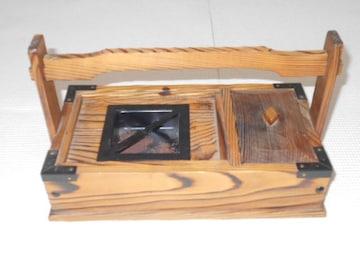 民芸品 灰皿 小物入れ付 木製 レトロ
