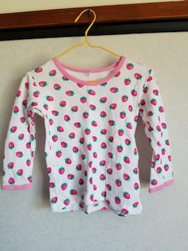 白にピンクふちイチゴ模様の長袖シャツ95