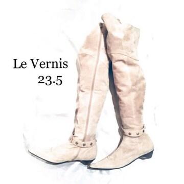 Le Vernis*本革*スタッズ付きスウェードニーハイ.ブーツ
