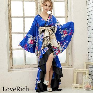 サテン和柄 フリルロング 着物ドレス 衣装 花魁 チャムドレス