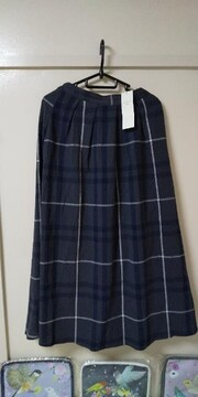 サマンサモスモスブルー♪チェック柄アソートスカート、ネイビー