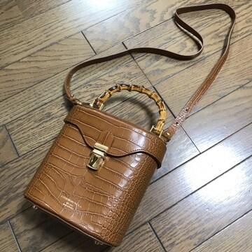 新品クリスチャンヴィラクロコ型押しバンブーバッグ鞄クラシック