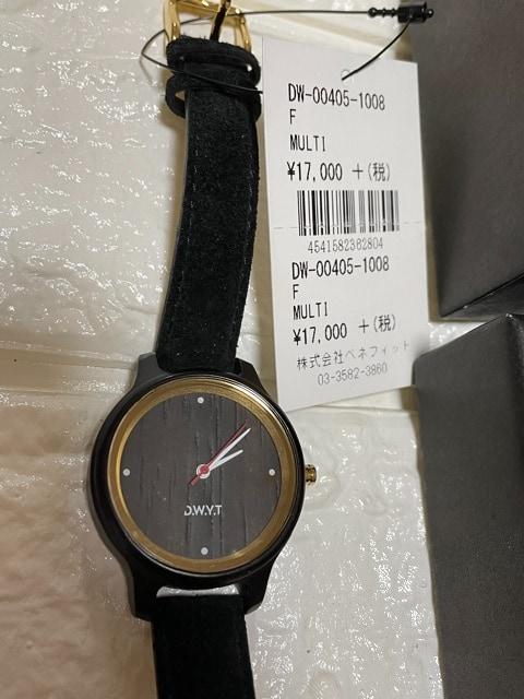 新品D.W.Y.T木製アナログ腕時計ブラック黒レディース腕時計 < 女性アクセサリー/時計の