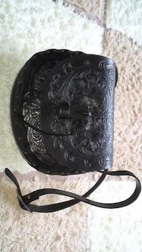 ハンドメイドサドル革ショルダーバッグ(黒)