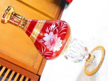 未使用☆切り子*花*花瓶*一輪挿し*酒器(ゴールド×赤)