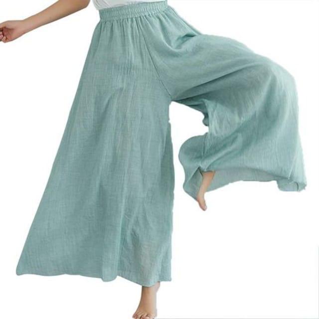 麻混 フレア ワイドパンツ(フリー・緑)  < 女性ファッションの
