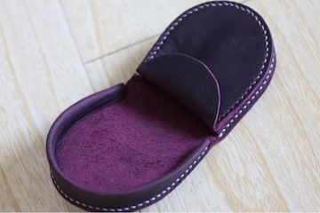 新品馬蹄型メンズ小銭入れ、本革パープル系財布携帯便利