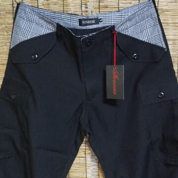 SONREIR チェック切替し スーツ生地 6ポケ カーゴパンツ ブラック 未使用 L