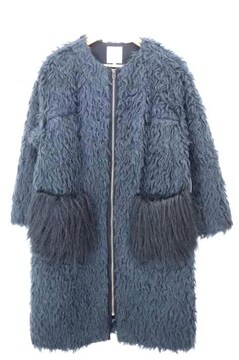 LANVIN en Bleu(ランバンオンブルー)ノーカラーミックスシャギーコートコート