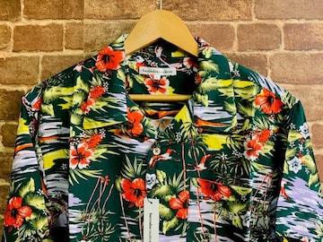 表記L/新品!レーヨン100% 花柄 アロハシャツ 緑 アメカジ ヒッピー サーフスタイル