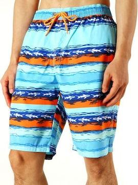 水着 メンズ 海水パンツ ボーダー・オレンジ