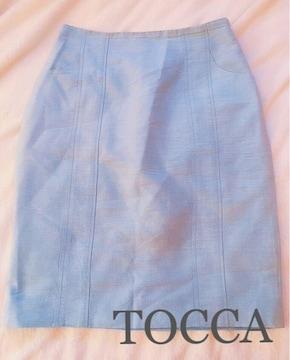 TOCCAトッカ【新品同様】シルクタイトスカート●ジーンズブルー