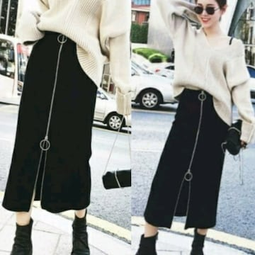 S,M/新品☆個性的!!フロントZIPタイトスカート15