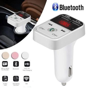 Bluetooth FMトランスミッター USB 充電器 二台同時充電 白