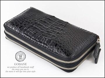 ゴダンspcw8056cpBKクロコWラウンド財布