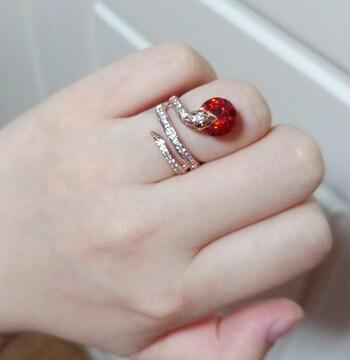 新品[7879](16号)赤レッドストーン○蛇/ヘビ/スネイクリング/指輪