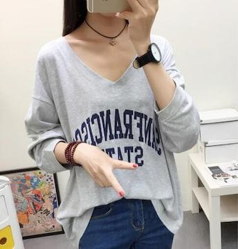 超人気990円★とろみTシャツ ゆったりトップス グレーL