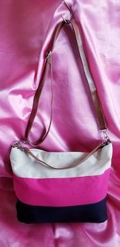 ★ホワイトピンク紺色ネイビー綿キャンバス2wayショルダーバッグ