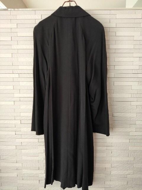 AKi Tokyo 絹100% シルク モダン ロングコート ゆったり 黒 < 女性ファッションの